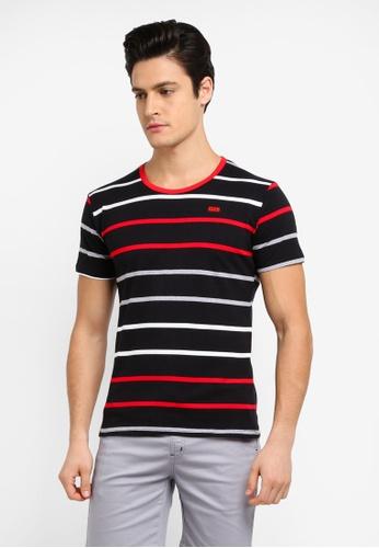 Fidelio black Multi Color Stripes Casual Round Neck T-Shirt E146BAA9B42550GS_1
