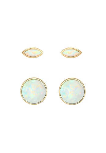 ELLI GERMANY gold Elli Germany Earrings Earrings Set Marquise Circle Opal Stone 925 Sterling Silver Gold Plated 0DC2EAC940CE83GS_1