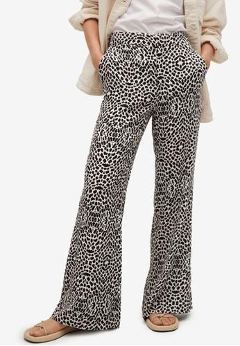 Mango black Printed Straight Trousers 68761AA7C8DE1EGS_1