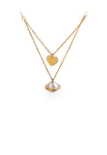 Glamorousky 白色 時尚優雅鍍金色心形仿珍珠316L鋼吊墜配雙層項鏈 2480DAC0FD5D7DGS_1