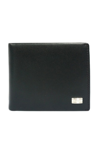 Santa Barbara Polo & Racquet black Leather Bill-Fold With Coin Compartment Wallet SA678AC64TXVSG_1