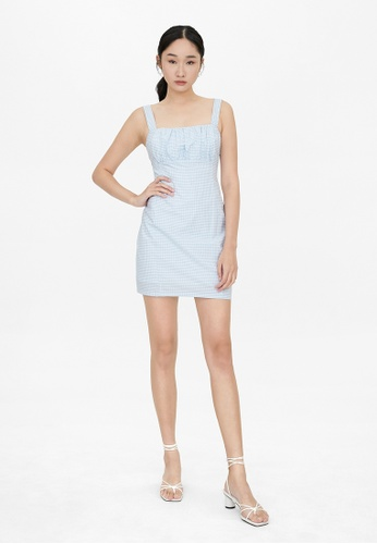 Pomelo blue Gingham Square Neck Fitted Dress - Blue 54734AA90CAEB9GS_1