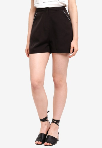 Something Borrowed black Zip Trim Tailored Shorts C2E14AAB4B968FGS_1