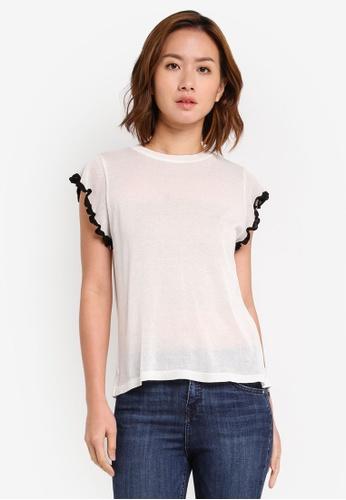 YOCO white Frilly Sleeves Top YO696AA0SSL2MY_1