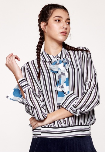United Colors of Benetton blue Striped Blouse with Camouflage Bow 5D6B1AAD1CA148GS_1