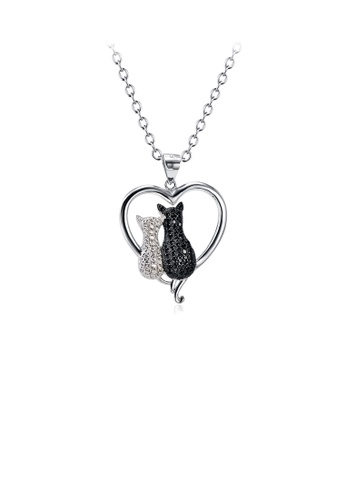 Glamorousky white 925 Sterling Silver Simple and Cute Cat Heart Pendant with Cubic Zirconia and Necklace 07CFFAC7A8EB61GS_1