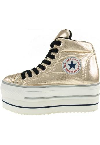 Maxstar 金色 新款韩国鞋CN9-Taller-TC時尚皮革布混合女金色 US Women Size MA345SH43HGYTW_1