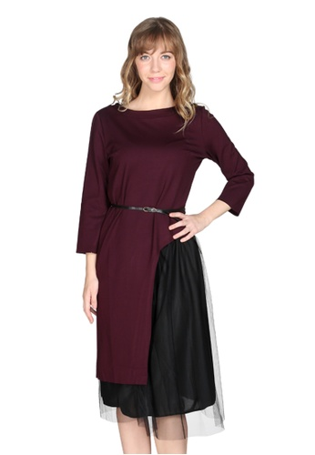 London Rag red Burgundy Side Slit Maxi Top and Skirt 343A5AADBA1C8FGS_1