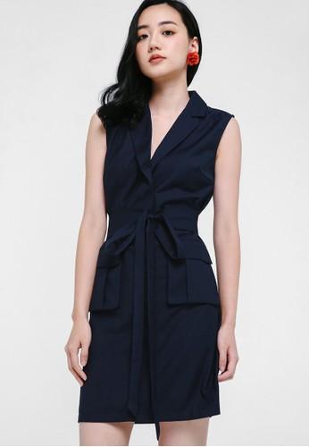 Love, Bonito navy Oralie Front Pocket Tuxedo Dress 764AFAAD25119DGS_1