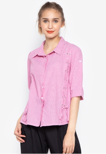 4f34272c415127 Krizia pink Buttoned Down Collared Shirt Tie-Up Details 604EAAA72B9565GS_1
