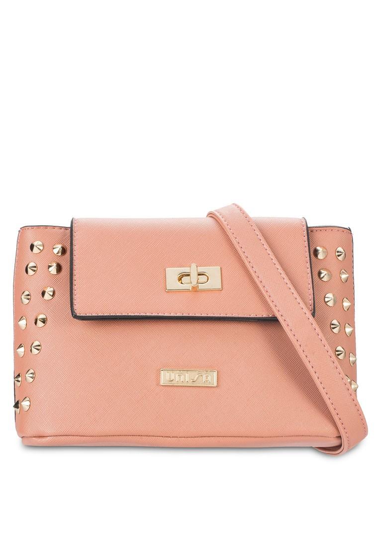 UNISA Saffiano Texture Studded Mini Sling Bag