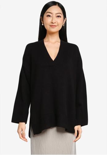 LOWRYS FARM black V- neck Knit Pullover Sweater 806AFAA2D15743GS_1
