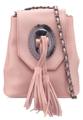 Bagstationz pink Tassel Mini Sling Bag 7E6BEACBA7710CGS_1