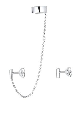 ELLI GERMANY silver Earrings With Earcuff Chain EL474AC0RFI8MY_1