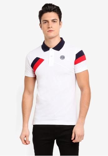 Volkswagen 白色 短袖休閒撞色POLO衫 CD99AAACEF2732GS_1