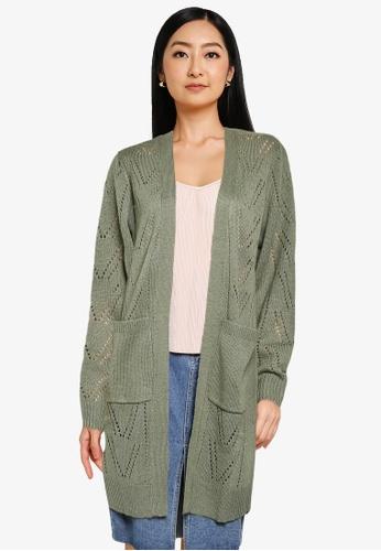 JACQUELINE DE YONG green Daisy Long Sleeve Structure Cardigan CA525AAE477159GS_1