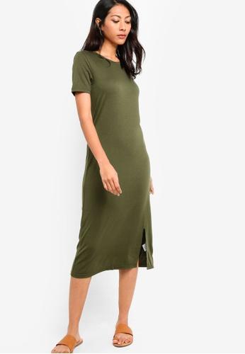 ZALORA BASICS green Basic Midi Dress With Slit 08B6DAA99CF57BGS_1
