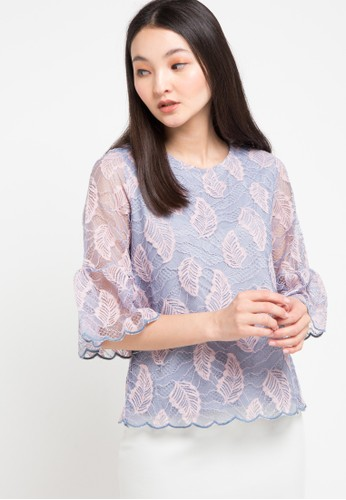 Chic Simple blue Scallop Emb Bell S/ Glitter Lace Blouse 2E4E1AAD473BD7GS_1