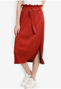 43e7dbad96 ZALORA orange Suede Pleated Midi Skirt DFDB9AAC53E26CGS_1