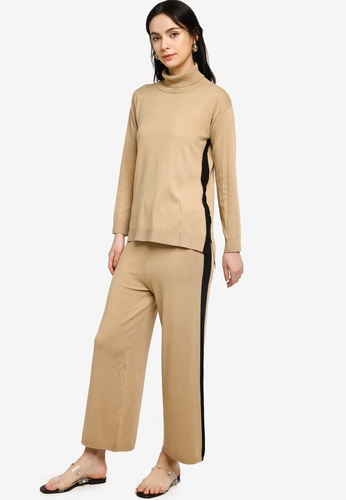 Zalia brown Knitted Color Blocked Co-ords 37558AA849CC5EGS_1