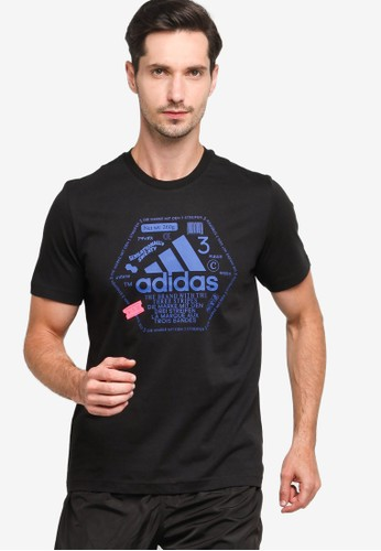ADIDAS black athletics graphic t-shirt 05642AA91696EBGS_1