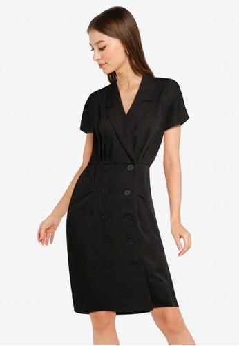 ZALORA WORK black Collared Button Down Dress BA4AAAA860383BGS_1