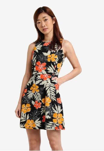 ZALORA black and multi Fit & Flare Knitted Crepe Dress BC511AAAABF6B2GS_1