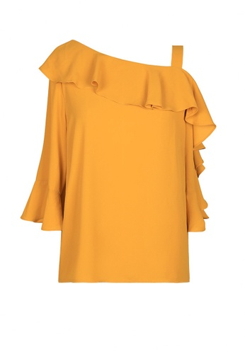 Twenty Eight Shoes yellow VANSA Ruffle Three-quarter Sleeves Blouse  VCW-Bs20065 AAD60AA0D73875GS_1