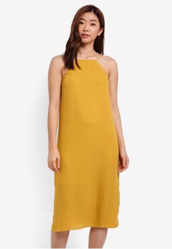 ZALORA yellow Halter Cami Midi Dress E2B3DAAFA7D72AGS_1