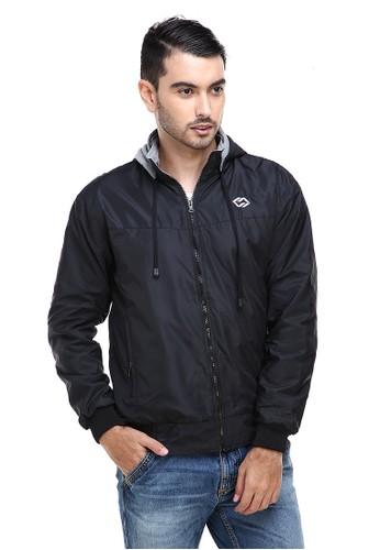 Hamlin black Hamlin Clover Jaket Parasut Hoodie Pria 2 IN 1 Casual Jacket Two Tone Material Despo Parka Fleece ORIGINAL D1296AAD2021F1GS_1