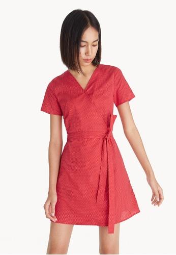 Pomelo red Mini Polka Dot Wrap Dress - Red B8DF0AA8C0F4CDGS_1