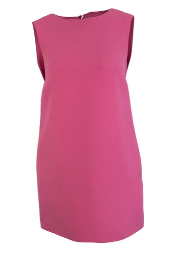VALENTINO pink Pre-Loved Valentino Pink Wool Silk Blend Sleeveless Shift Dress With Cut Out Back and Inseam Side Pockets. 2D28BAA6A52FBFGS_1