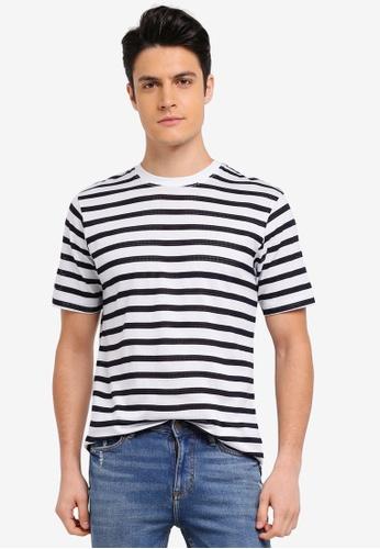 MANGO Man blue Striped Cotton T-Shirt 0F06AAA9125BE5GS_1