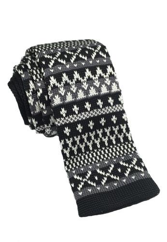Splice Cufflinks Stencil Series Dark Patterned Black Knitted Tie SP744AC45KUWSG_1