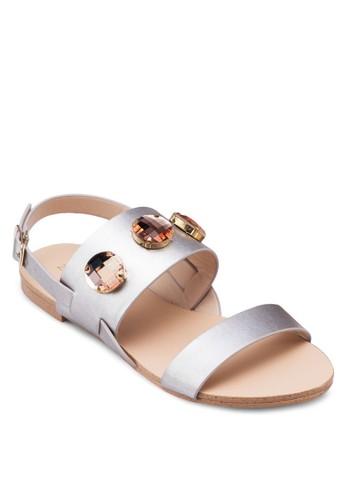 閃飾zalora鞋繞踝平底涼鞋, 女鞋, 鞋