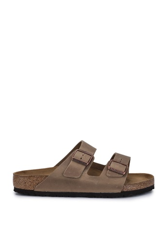 Birkenstock 褐色 Arizona Oiled Leather Sandals BI090SH96JPJMY_1