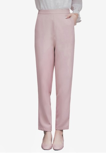 Yoco pink High Waist Tapered Pants 05606AA28E3B17GS_1