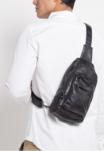 Urban State black Distressed Leather Dome Slingbag D7D9BACCBF5B7AGS_1