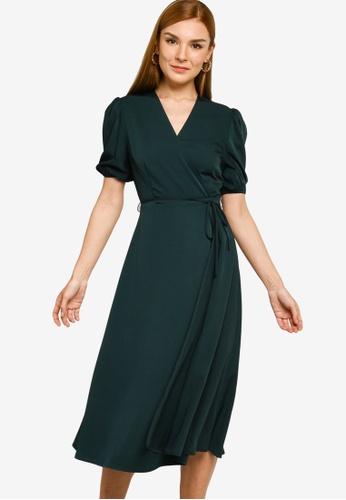 ZALORA WORK 綠色 Puff Sleeve Wrap Dress A524AAA6FFABCFGS_1