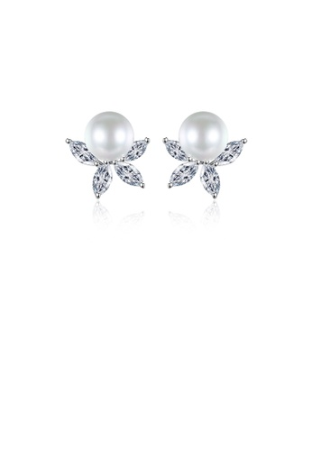 Glamorousky white Simple Temperament Leaf Imitation Pearl Stud Earrings with Cubic Zirconia AA379AC2AD3986GS_1