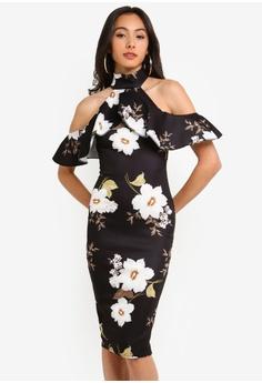 9a01cff97a8 MISSGUIDED black Cold Shoulder Floral Frill Midi Dress BA45DAAF655533GS 1