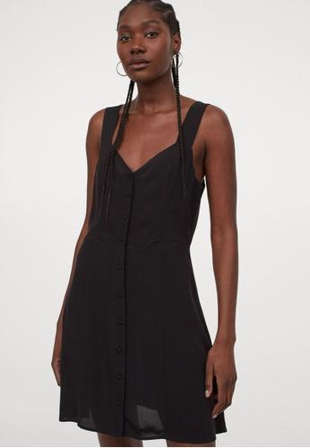 H&M black Buttoned Dress D80F0AA3FA58ADGS_1
