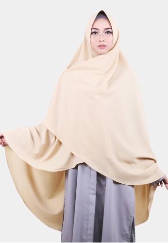 COTTON BEE beige Khimar Celine Pet Hijab Syari Jilbab Jumbo Kerudung Muslim - Creamy 455EBAA4206026GS_1