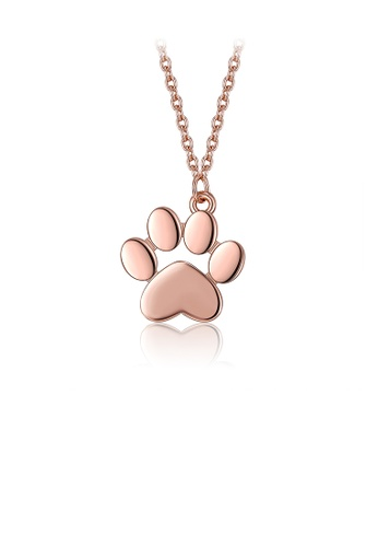 Glamorousky silver 925 Sterling Silver Plated Rose Gold Cute Cat Claw Pendant with Necklace 83BCCACD1F80E2GS_1