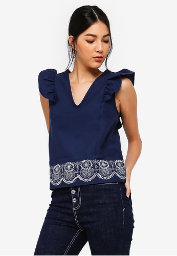 ZALORA navy Embroidered Hem V-Neck Top 78FD0AA03F1930GS_1