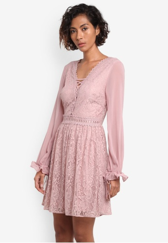 TOPSHOP pink Eyelet Detail Lace Mini Dress TO412AA0RMX8MY_1
