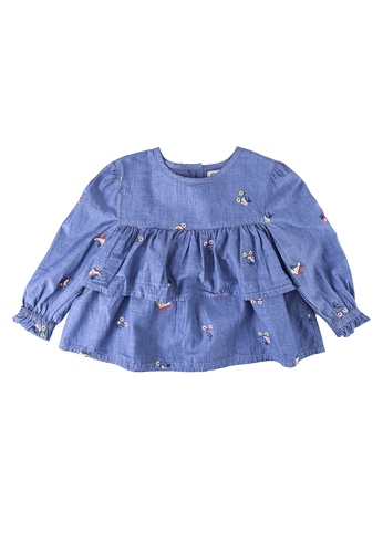 Cath Kidston blue Rollerskates Embroidered Tiered Top ED44AKA09E8F82GS_1