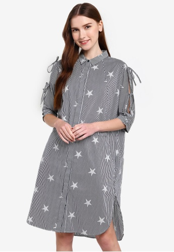 Hopeshow navy Star Print Striped Shirt Midi Dress D4D37AA9A4B471GS_1