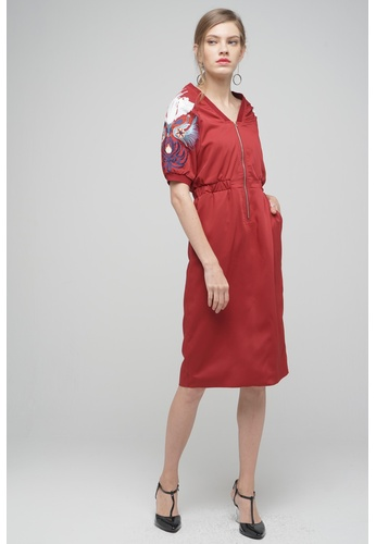 Megane red Red Romance Hedvige Embroided Sequin Zipper Dress FFD46AA2D53FB7GS_1