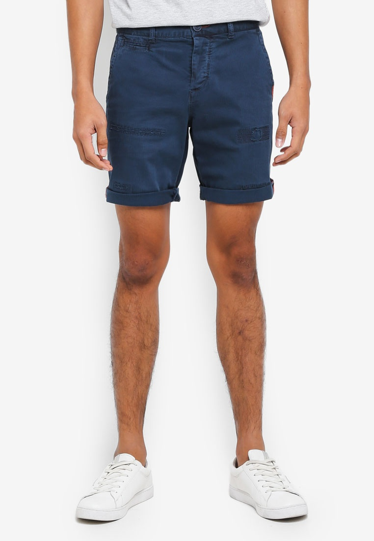 Chino Short amp;Repair Patch Herringbone Int'L Superdry Navy qOtwqda